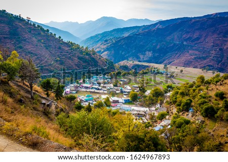 Mountain views of the Pantwari village located in Dehradun Uttarakhand India. Aerial view of village in Nag Tibba trek located in Dehradun Uttarakhand India. Travel and Trekking in Uttarakhand - Image #1624967893