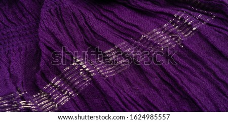 Texture background pattern, decor ornament, dark lilac corrugated fabric of blue cent, Fabric with parallel or diagonal folds of dentate folds; products from such a fabric. #1624985557