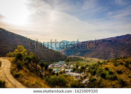Mountain views of the Pantwari village located in Dehradun Uttarakhand India. Aerial view of village in Nag Tibba trek located in Dehradun Uttarakhand India. Travel and Trekking in Uttarakhand - Image #1625009320