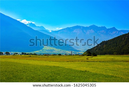 Mountain green valley landscape. Green valley in mountains. Mountain green valley view. Mountain valley landscape