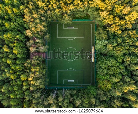 Top view of a soccer field in the forest, tall trees around the stadium. Aerial photography