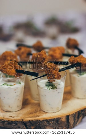 Catering table set service at restaurant before party #1625117455