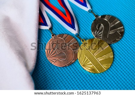 Medal podium, sport photo, gold silver and bronze medal, sport photo. Icon for summer game  2020 Tokyo