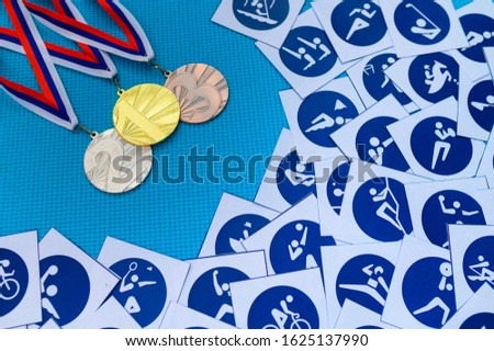 Blue Sports icons and medal set. Medal schedule concept photo. Original photo for summer olympic game 2020 Tokyo