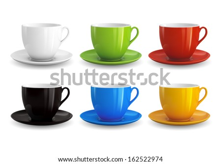 High detailed vector illustration of colorful cups isolated on white background #162522974