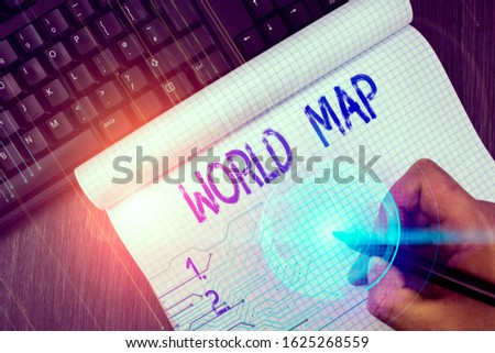 Writing note showing World Map. Business photo showcasing a diagrammatic representation of the surface of the earth. #1625268559