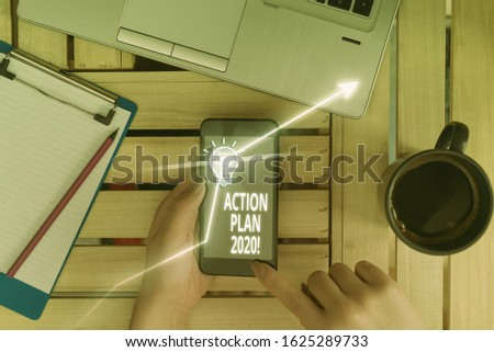 Writing note showing Action Plan 2020. Business photo showcasing proposed strategy or course of actions for current year. #1625289733
