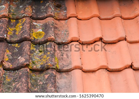 Comparison roof top before and after cleaning moss lichen high pressure water cleaner tile Royalty-Free Stock Photo #1625390470