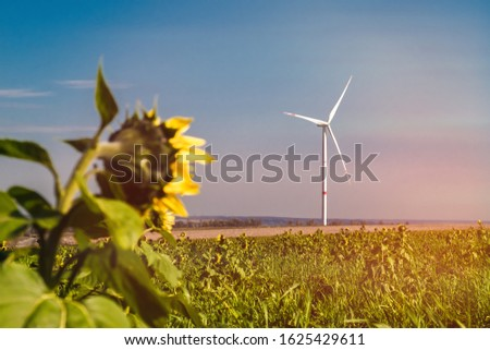 Eco power, wind turbines generating electricity #1625429611