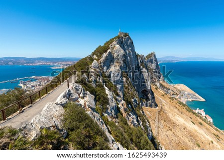 The Rock, Gibraltar - British Overseas Territory located at the southern tip of the Iberian Peninsula.