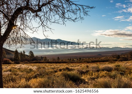 A high angle shot of the Onion Valley in California, the USA and the bright sky in the background