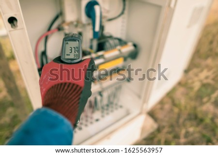 Engineering used an Infrared thermometer to measure the temperature of electrical wires produced from solar energy to confirming systems working normal and check for heat to other mechanical devices. #1625563957