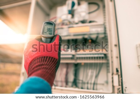 Engineering used an Infrared thermometer to measure the temperature of electrical wires produced from solar energy to confirming systems working normal and check for heat to other mechanical devices. #1625563966