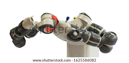 Robotic arms for pick and place automation;process of picking parts up and placing them in new location ; isolate white background ; clipping mask #1625586082
