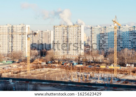 urban urban landscape. top view of a construction site and road on a sunny day #1625623429