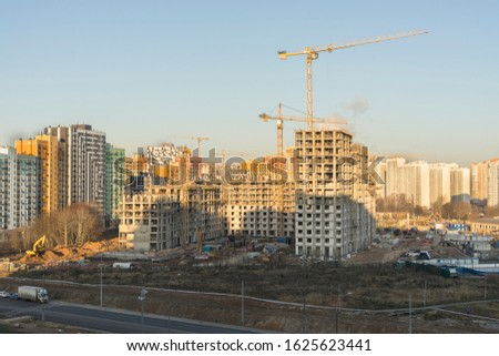 urban urban landscape. top view of a construction site and road on a sunny day #1625623441