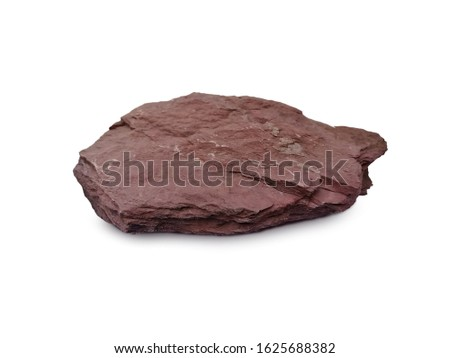 Shale stone on a white background. There is noise and grain caused by the texture of stone. There are mud elements that contain mineral ores with mineral debris. Especially Quartz and Calcite. #1625688382
