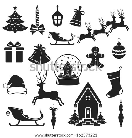 Christmas and New Year black icons set. vector illustration