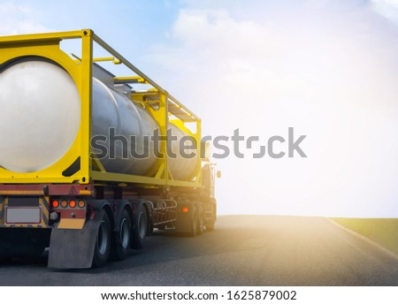 Gas Truck on highway road with tank oil  container, transportation concept.,import,export logistic industrial Transporting Land transport on the asphalt expressway with blue sky #1625879002