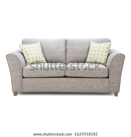 Grey Mid Back Linen Sofa Bed Isolated on White Background. Classic Upholstered Loveseat with Armrests and Seat Cushion Front View. Modern Large 2 Seater Couch with Two Scatter Pillows #1625918185