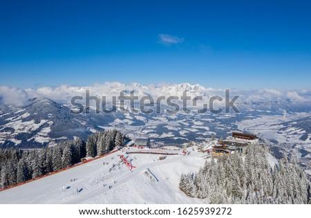 Kitzbuehel Hahnenkamm Race - Ski Resort - Top station with downhill start #1625939272