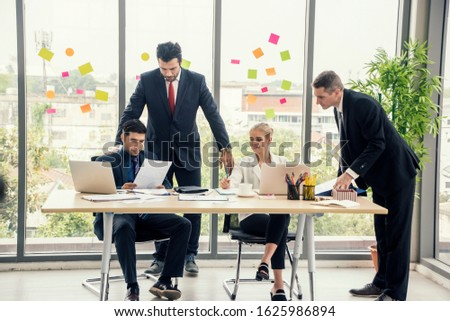 Group of employees and management team work together to brainstorm, solve problems and formulate strategies for working in working space at office.Teamwork concept #1625986894