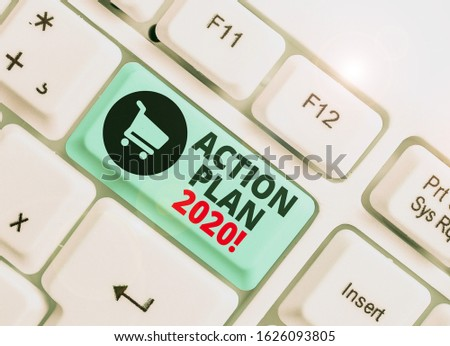 Text sign showing Action Plan 2020. Conceptual photo proposed strategy or course of actions for current year. #1626093805