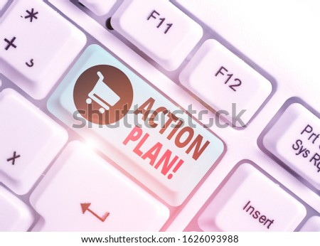 Text sign showing Action Plan. Conceptual photo proposed strategy or course of actions for certain time. #1626093988