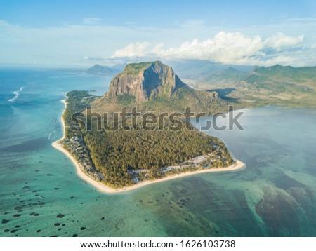 Coastline, forest and mount Le Morne Brabant o Mauritius island #1626103738