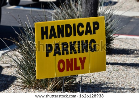 Yellow Handicap Parking Only Sign #1626128938