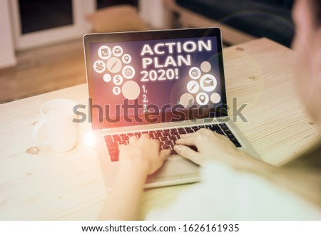 Writing note showing Action Plan 2020. Business photo showcasing proposed strategy or course of actions for current year. #1626161935