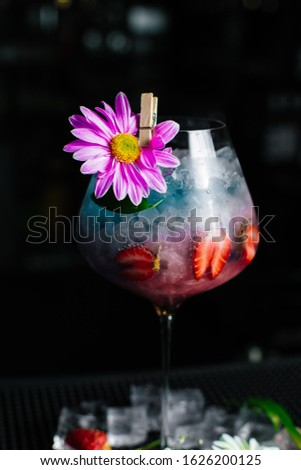 Strawberry non alcoholic drink with special decors (horizontally) #1626200125