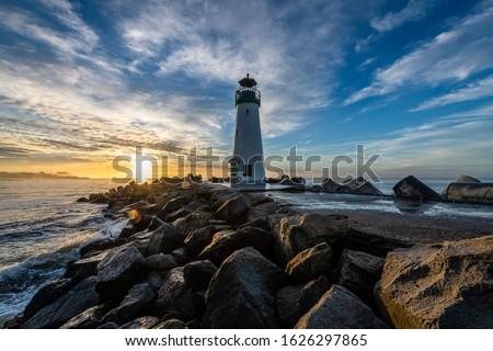 Santa Cruz's Breakwater Lighthouse at Dawn Royalty-Free Stock Photo #1626297865