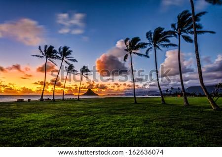 Dawn at Mokoli?i a.ka. Chinaman's Hat island in K?ne'ohe Bay, Hawaii from Kualoa Regional Park