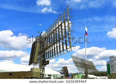 Radar antenna of aerial reconnaissance system, receiving information from paired detection and targeting systems for weapons #1626384469