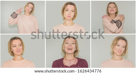 set of photos. collage. the girl portrays feelings -  Anger, Annoyance, Resentment, Displeasure, Sadness, Sadness, #1626434776