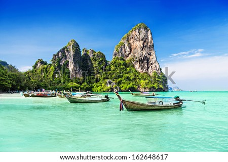 Longtale boats at the beautiful beach, Thailand Royalty-Free Stock Photo #162648617