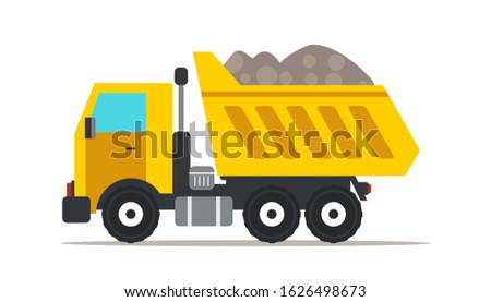 Dump truck flat illustration. Professional heavy machinery isolated design element. Yellow tipper truck cartoon clip art. Road works, building construction. Vehicle, transport. Raster copy