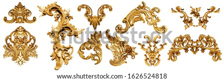 golden baroque ornament on white background Royalty-Free Stock Photo #1626524818
