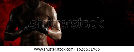 Martial arts fighter (MMA). Sports banner. Horizontal copy space background Royalty-Free Stock Photo #1626531985