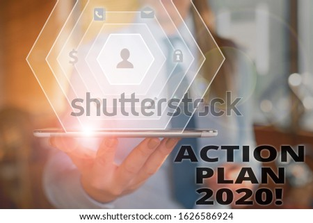 Text sign showing Action Plan 2020. Conceptual photo proposed strategy or course of actions for current year. #1626586924