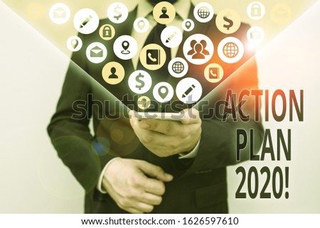 Conceptual hand writing showing Action Plan 2020. Business photo text proposed strategy or course of actions for current year. #1626597610