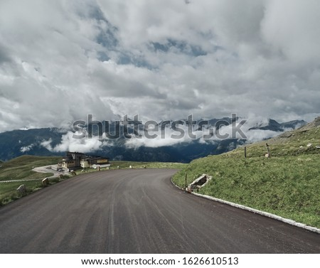 Asphalt road in mounts. Road to the mountains. Alpen road Royalty-Free Stock Photo #1626610513