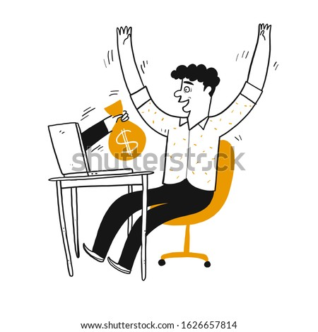 Young man be happy looking the poking hand from laptop along with money bag, Vector Illustration hand draw doodle style.
