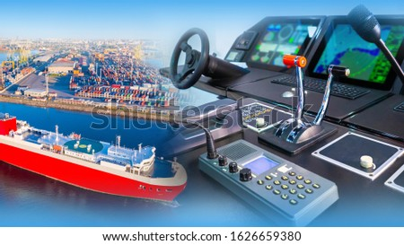 Captain's bridge of a cargo ship. Direction panel of a cargo ferry. Remote control of a modern ship. Concept - helm of a modern ship. Marine management training. vessel near the cargo port top view #1626659380