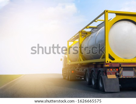 Gas Truck on highway road with tank oil  container, transportation concept.,import,export logistic industrial Transporting Land transport on the asphalt expressway with blue sky #1626665575