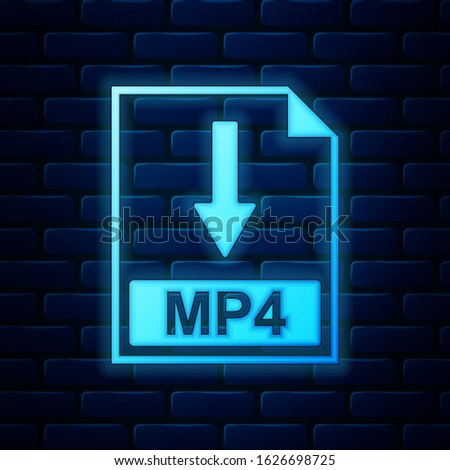 Glowing neon MP4 file document icon. Download MP4 button icon isolated on brick wall background.  Vector Illustration