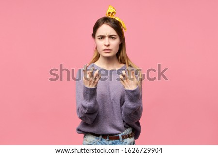 Portrait of frustrated angry young woman expressing indignation, gesturing emotionally, being mad and furious, frowning eyebrows. Negative human emotions, reaction, feelings and facial expressions #1626729904