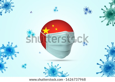 Coronavirus / Corona virus concept. china put mask to fight against Corona virus. Concept of fight against virus. Many Virus attack isolated on blue sky background. #1626737968