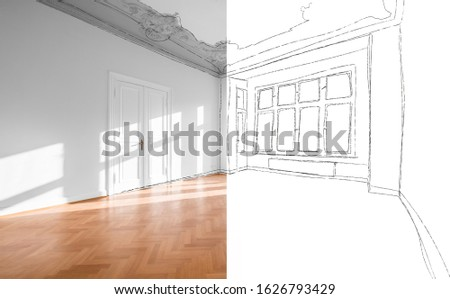 home renovation, photo and sketch of empty living room